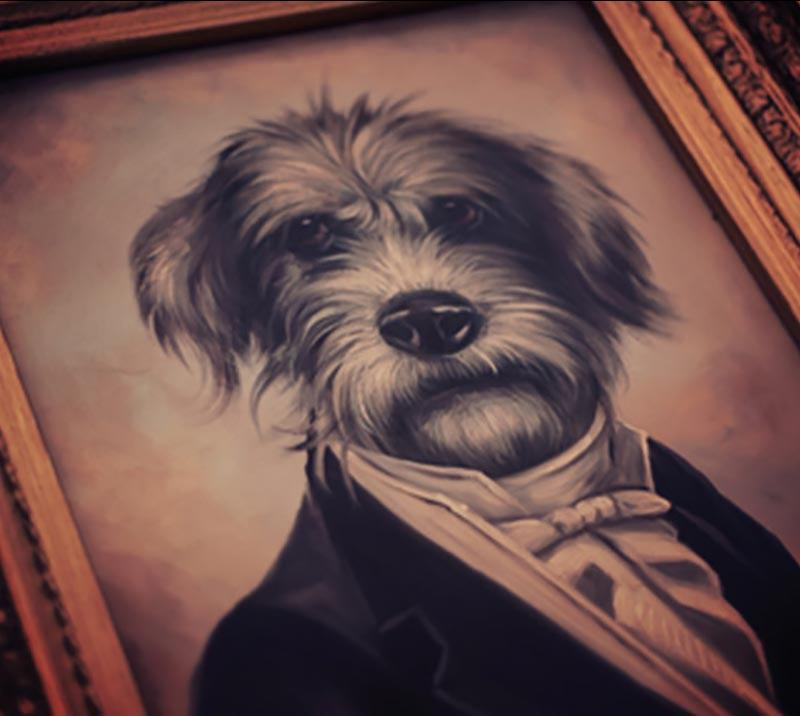 Close up on a painting featuring an anthropomorphised dog wearing a smart suit.